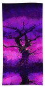 Purple Tree Of Life Beach Towel