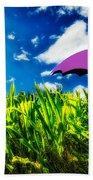 Purple Umbrella In A Field Of Corn Beach Towel