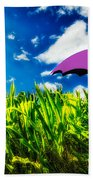 Purple Umbrella In A Field Of Corn Beach Sheet