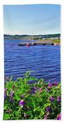Purple Vetch Overlooking Rocky Harbour-nl Beach Towel
