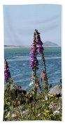 Purple Wildflowers At Netarts Bay Beach Towel