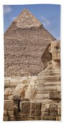 Pyramids And Sphinx In Egypt Beach Towel