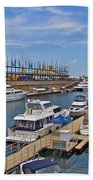 Quays Along Saint Lawrence River In Montreal-qc Beach Towel