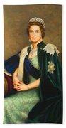Queen Elizabeth II Portrait - Oil On Canvas Beach Towel