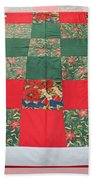 Quilt Christmas Blocks Beach Towel by Barbara Griffin