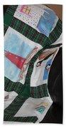 Quilt Newfoundland Tartan Green Posts Beach Towel by Barbara Griffin
