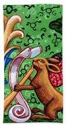 Rabbit Plays The Flute Beach Towel