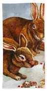 Rabbits In Snow Beach Towel