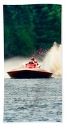 Racing Speed Boat Beach Towel
