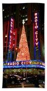Radio City At Christmas Time - Holiday And Christmas Card Beach Towel