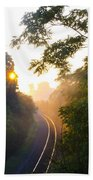 Rail Road Sunrise Beach Towel