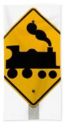 Railroad Crossing Steam Engine Roadsign On White Beach Towel