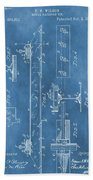 Railroad Tie Patent On Blue Beach Towel