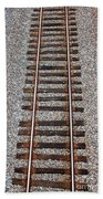 Railroad Track With Gravel Bed Beach Towel
