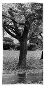 Rain And Leaf Ave In Black And White Beach Towel