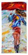 Rain Dance With Red Umbrella Beach Towel
