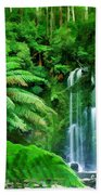 Rain Forest And Waterfall Beach Towel