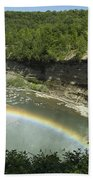 Middle Falls With Rainbow Beach Towel