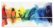 Rainbow Birds Beach Sheet