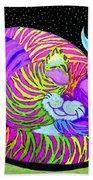 Rainbow Cat Blue Moon Beach Towel