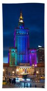 Palace Of Science And Culture In Rainbow Colors  Beach Towel
