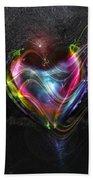 Rainbow Heart Beach Towel by Linda Sannuti