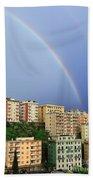 Rainbow Over The Town Beach Towel