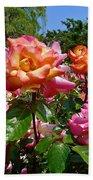 Rainbow Sorbet Roses Beach Towel by Denise Mazzocco