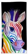 Rainbow Striped Zebra 2 Beach Towel