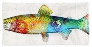 Rainbow Trout Art By Sharon Cummings Beach Sheet