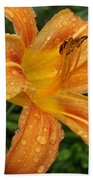 Raindrops On Golden Lily Beach Towel