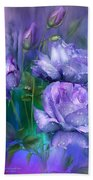 Raindrops On Lavender Roses Beach Towel