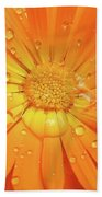 Raindrops On Orange Daisy Flower Beach Towel