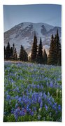 Rainier Evening Lupine Fields Beach Towel