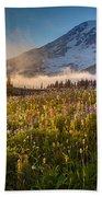 Rainier Golden Sunlit Meadows Beach Towel