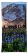 Rainier Wildflower Meadows Pano Beach Sheet