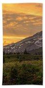 Rainier Wildflowers Meadow Sunset Beach Towel