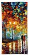 Rain's Rustle 2 - Palette Knife Oil Painting On Canvas By Leonid Afremov Beach Towel