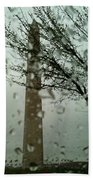 Rainy Day At The Washington Monument Beach Towel