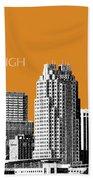 Raleigh Skyline - Dark Orange Beach Towel
