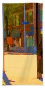 Ramacieri Soligo Building Supplies Rue Van Horne Outremont Montreal Street Scene Art Carole Spandau Beach Towel