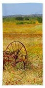 Ranch And Wildflowers And Old Implement 2am-110547 Beach Towel