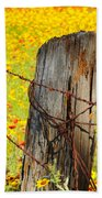 Ranch Wildflowers And Fence 2am-110532 Beach Towel
