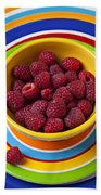 Raspberries In Yellow Bowl On Plate Beach Sheet