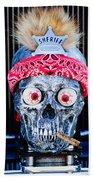 Rat Rod Skull Hood Ornament 2 Beach Towel