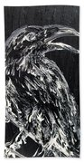 Raven On The Branch - Oil Painting Beach Towel