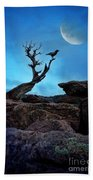 Raven On Twisted Tree With Moon Beach Towel