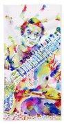 Ravi Shankar - Watercolor Portrait Beach Towel