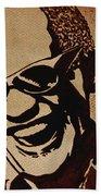 Ray Charles Original Coffee Painting Beach Towel