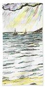 Rays Of Sunshine Between Clouds Beach Towel